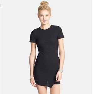 Juniors body con black dress